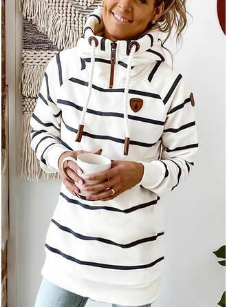 Striped Long Sleeves Shift Above Knee Casual Sweatshirt Dresses