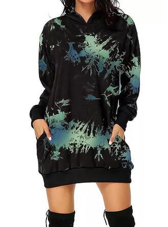 Tie Dye Long Sleeves Shift Above Knee Casual Sweatshirt Dresses