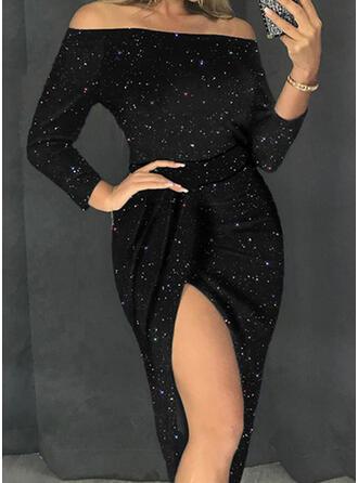 Sólido Manga Larga Cubierta Pequeños Negros/Fiesta/Elegante Midi Vestidos