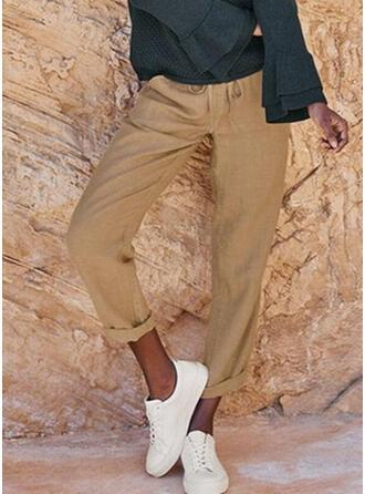 Pockets Shirred Plus Size Long Boho Casual Pants