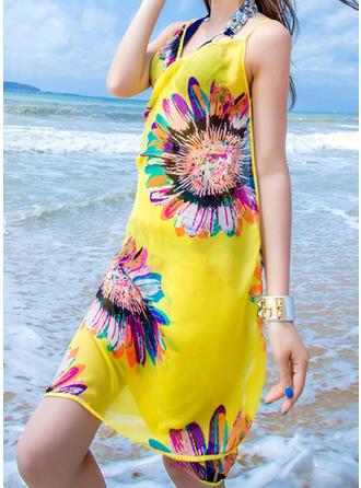 Floral/Borla/Bohemia/Costura Cuello/Ligero/Chal/Boho/Respirable/Multifuncional/Libre de arena/Secado rápido toalla de playa