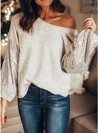 Solid Sequins One-Shoulder Long Sleeves Sexy Blouses