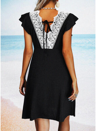 Solid/Backless Cap Sleeve Sheath Above Knee Little Black/Casual/Vacation Dresses