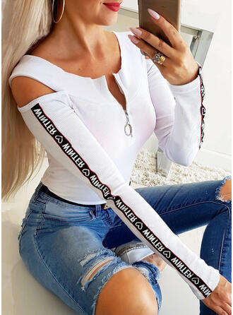 Print Figure Cold Shoulder Long Sleeves Casual Knit Blouses