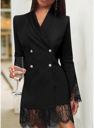 Encaje/Sólido Manga Larga Cubierta Hasta la Rodilla Pequeños Negros/Elegante Vestidos