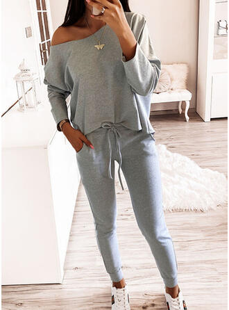 Print Pockets Casual Sporty Suits