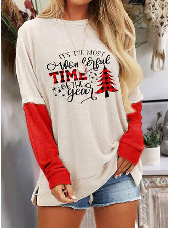 Print Color Block Figure Round Neck Long Sleeves Casual Christmas Blouses