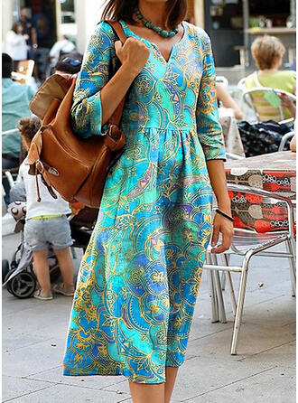 Print 3/4 Sleeves Shift Casual/Boho/Vacation Midi Dresses