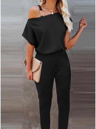 Solid One Shoulder Short Sleeves Elegant Vacation Jumpsuit