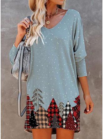 Print/Plaid Long Sleeves Shift Above Knee Christmas/Casual Tunic Dresses