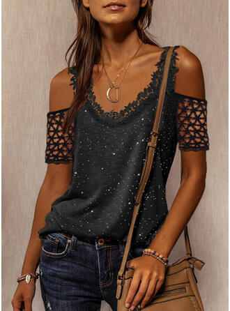 Print Lace Hollow-out Cold Shoulder Short Sleeves Casual Blouses