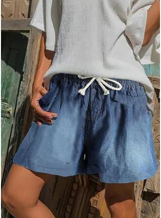 Shirred Plus Size Drawstring Casual Vintage Shorts Denim & Jeans