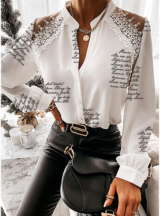 Print Lace Figure V-Neck Long Sleeves Button Up Elegant Shirt Blouses