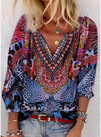 Print Leopard V-Neck 3/4 Sleeves Casual Blouses