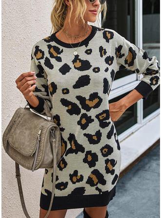 Leopardo Cuello Redondo Casuales Largo Vestido de Suéter