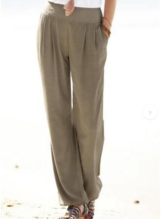 Sólido Patchwork Bolsillos Fruncido Largo Casual Llanura Pantalones