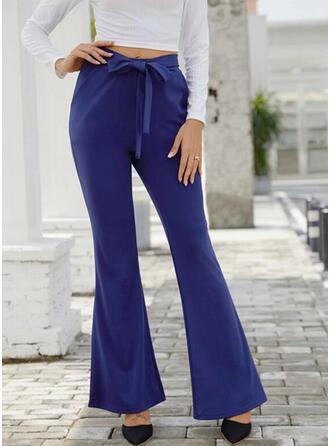 Fruncido Cordón Largo Elegante Sexy Pantalones