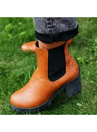 De mujer Tela Tacón ancho Botas al tobillo Encaje con Banda elástica Color de empalme zapatos