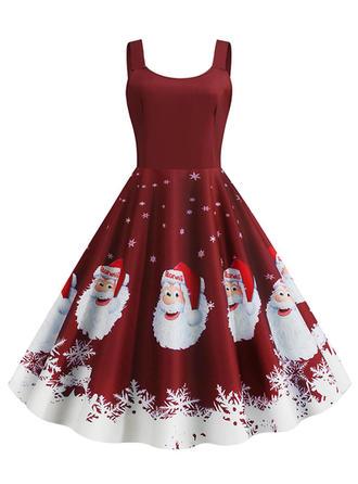 Impresión Sin mangas Acampanado Hasta la Rodilla Vintage/Navidad/Fiesta/Elegante Vestidos