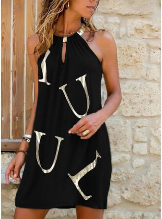 Print/Letter Sleeveless Shift Above Knee Casual Dresses