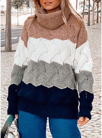 Bloque de Color Cuello De Tortuga Casuales Suéteres