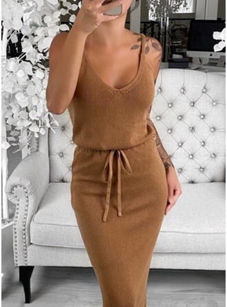 Solid Sleeveless Bodycon Knee Length Sexy/Casual Sweater Dresses