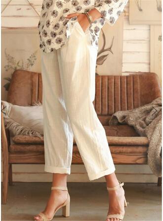 Sólido Fruncido Talla extra Recortada Casual Llanura Pantalones