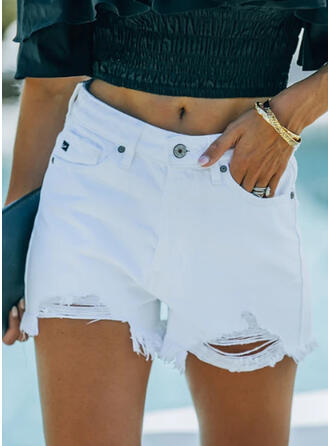 Solid Pockets Plus Size Ripped Sexy Solid Shorts Denim & Jeans