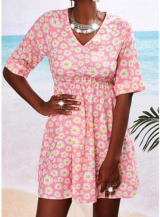 Print/Floral 1/2 Sleeves A-line Above Knee Casual Skater Dresses