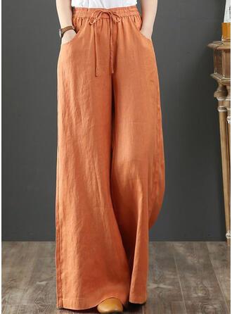 Pockets Shirred Plus Size Long Boho Casual Elegant Pants