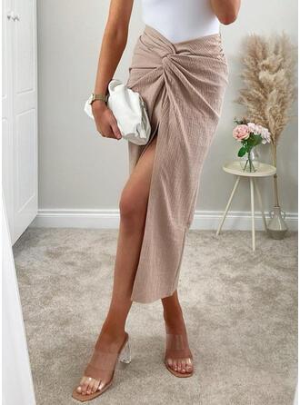 Polyester Plain Mid-Calf Pencil Skirts High-Slit Skirts