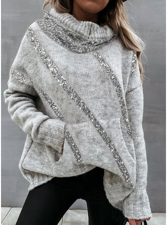 Solid Sequins Hooded Casual Sweaters