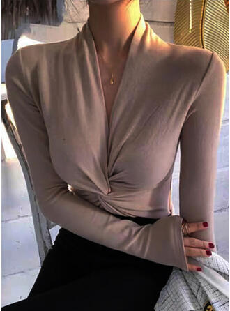 Solid V-Neck Long Sleeves Elegant Blouses