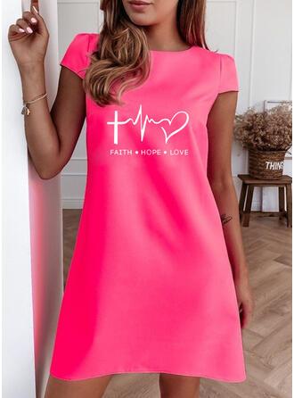 Print/Heart/Letter Short Sleeves Shift Above Knee Casual T-shirt Dresses