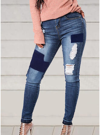 Patchwork Ripped Sexy Vintage Denim & Jeans