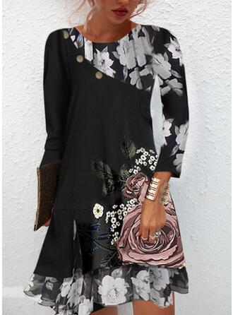 Print/Floral Long Sleeves Shift Tunic Casual Midi Dresses