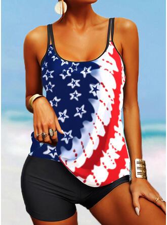 Flag Star Splice color Strap U-Neck Retro Boho Tankinis Swimsuits