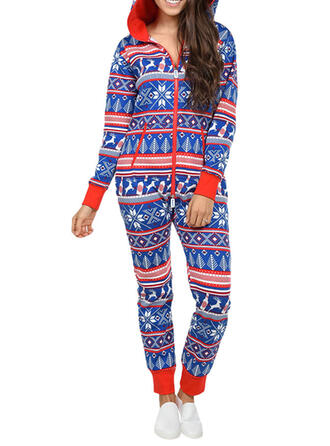 Cotton Blends Long Sleeves Christmas Romper