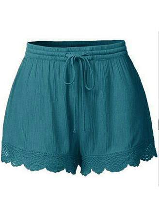 Encaje Fruncido Talla extra Por encima de la rodilla Boho Casual Sexy Pantalones cortos