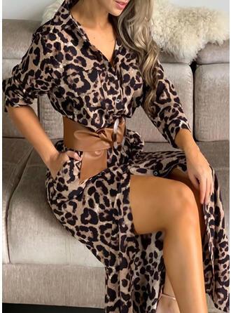 Leopardo Manga Larga Cubierta Casual/Vacaciones Maxi Vestidos