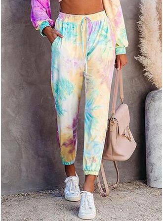 Impresión Tie Dye Cordón Recortada Casual Deportivo Pantalones