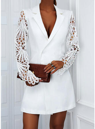 Solid Lace Long Sleeves Sheath Above Knee Elegant Wrap Dresses