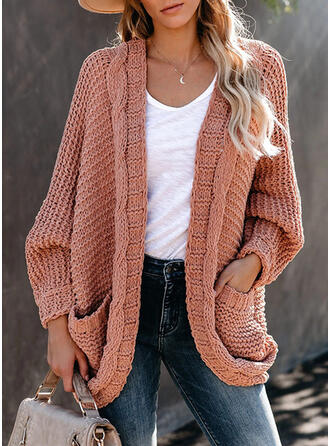 Solid Cable-knit Pocket Casual Cardigan