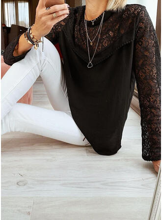 Sólido Encaje Cuello redondo Manga Larga Casual Elegante Blusas