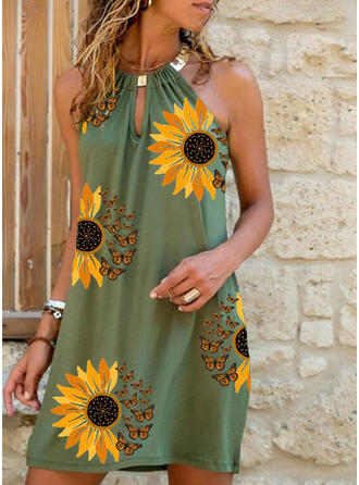 Animal Print/Sunflower Print Sleeveless Shift Above Knee Casual Dresses