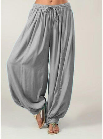 Bolsillos Fruncido Talla extra Largo Boho Casual Pantalones