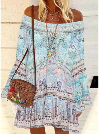 Print Long Sleeves/Flare Sleeves Shift Above Knee Casual/Boho/Vacation Tunic Dresses