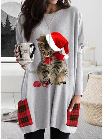 Animal Print Grid Round Neck Long Sleeves Christmas Sweatshirt