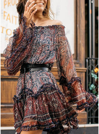 Print Long Sleeves A-line Above Knee Boho Skater Dresses