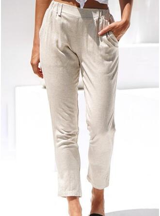 Bolsillos Fruncido Largo Casual Elegante Pantalones